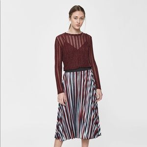 NWT Farrow Kait Shimmer Red Burgundy Blouse Top